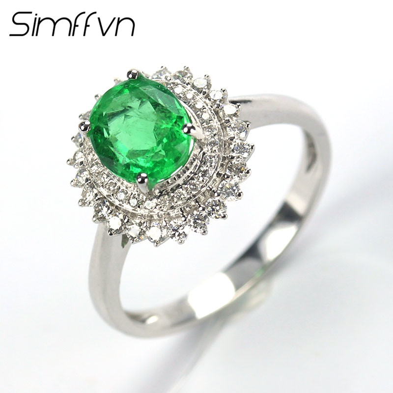 Simffvn Solitaire 18K White Gold 1.09 CT Emerald Rings For Women Engagement Ring Gemstone Bridal Ring Wedding Set