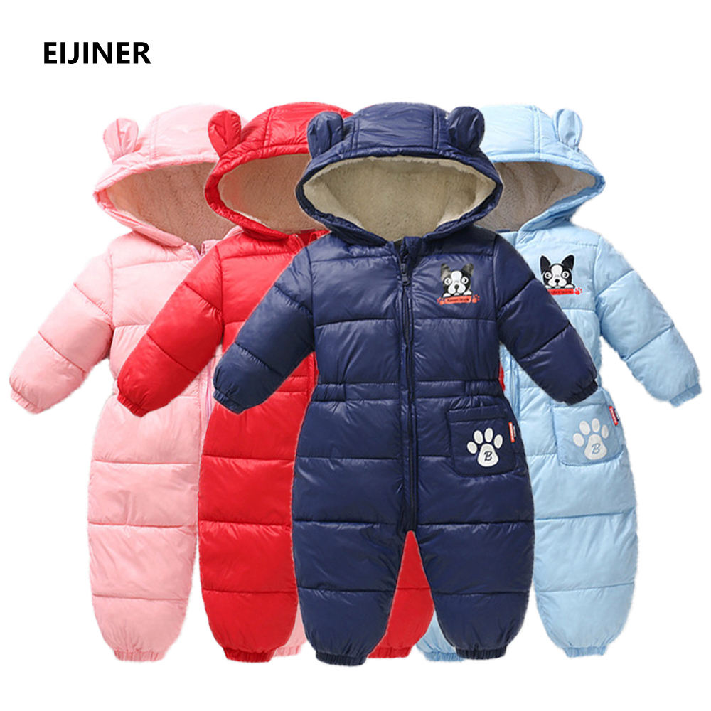 Newborn Baby Rompers Winter Girl Romper Cotton Warm Jumpsuit Baby Overalls Hooded Boy Snowsuit Baby Warm Jumpsuits baby clothing цена