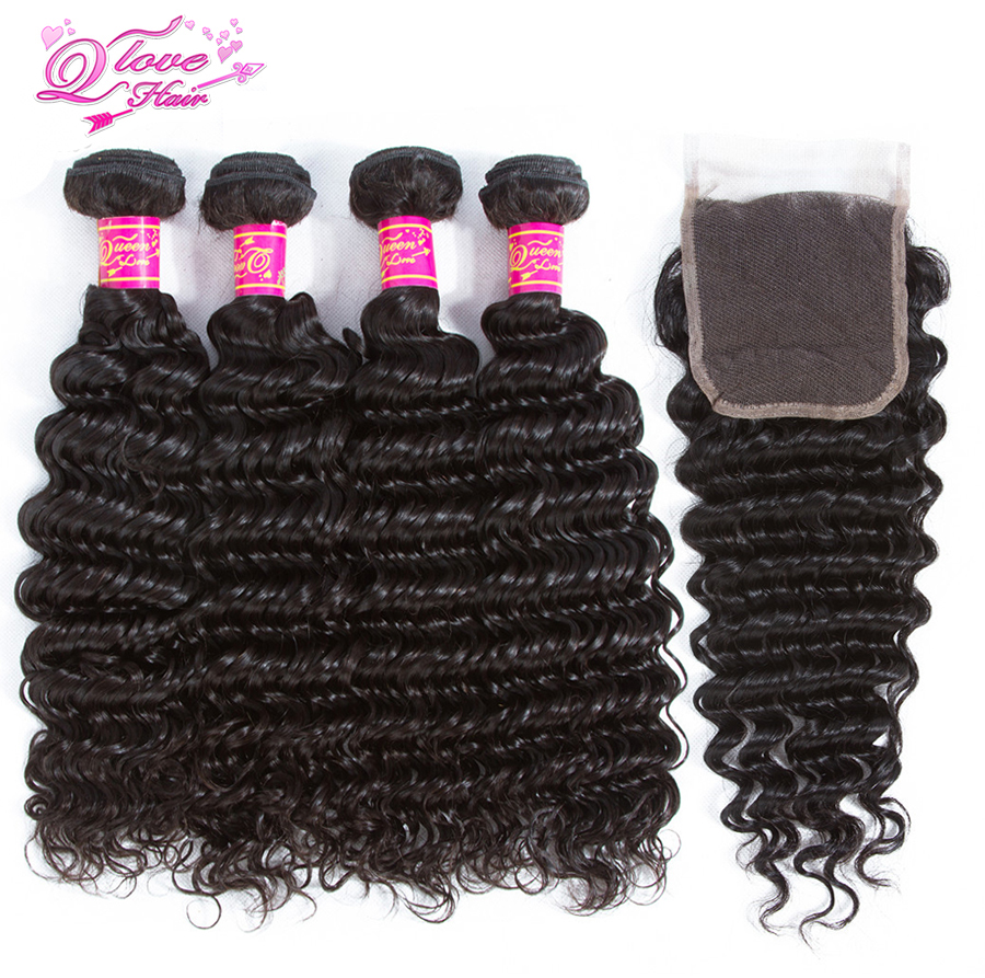 Queen Love Hair Peruvian Deep Wave Remy Hair Natural Color Bundles With Closure 100% Human Hair Extension