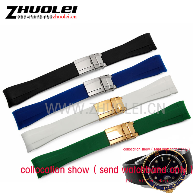 20mm men's black|green curved end silicone rubber strap watchband with silver go