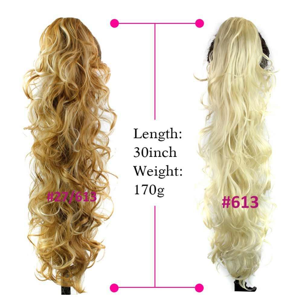 Deyngs 75 см длинные вьющиеся конский хвост 220 г искусственные синтетические волосы для наращивания конский хвост натуральные накладные женские волосы