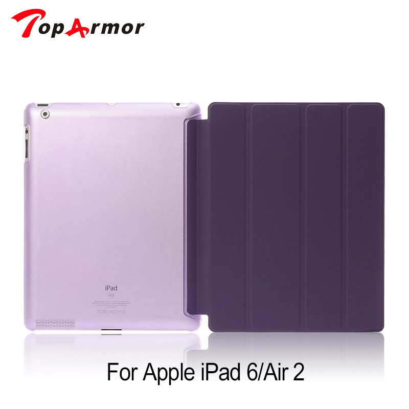 TopArmor Leather Case for ipad Air2 For ipad 6 Stand Flip Ultrathin Transparent Clear Luxury Cover Cases for iPad 6