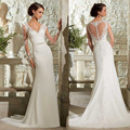2015 New Sexy Lace v-neck Appliques Long Sleeve Belt Wedding Dress Court Train Backless Vestidos De Noiva Vestido Casament