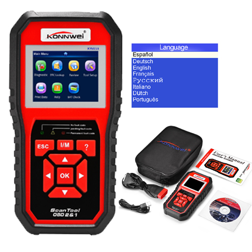 Original KW850 Auto Diagnostic Scanner ODB OBD2 Scanner Automotivo Multi-languages Car Diagnostic Tool in Russian Autel AL519