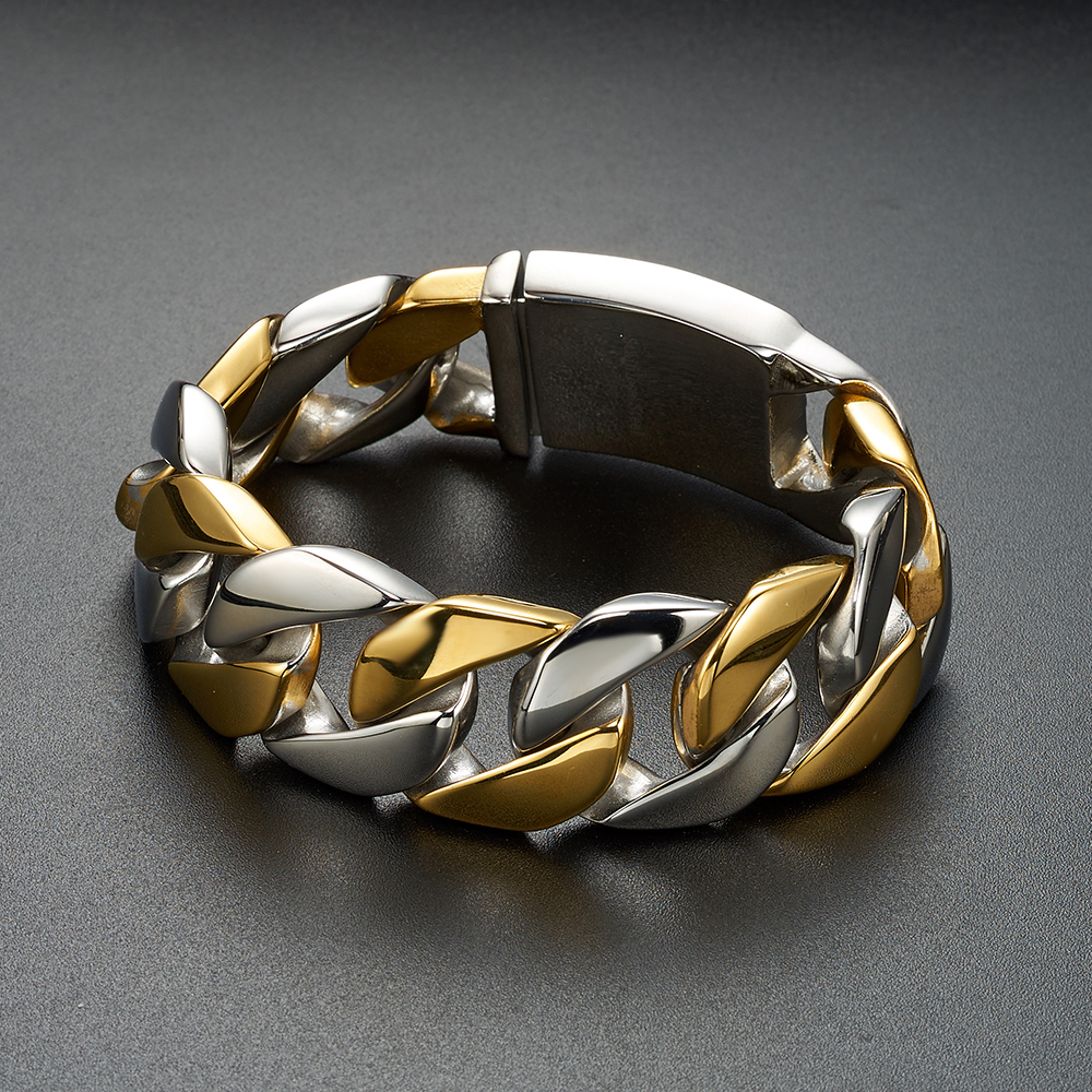 HIP Hop Rock Chain & Link Cuban Huge Heavy Bracelets Silver Color Stainless Steel Curb Bracelet Bangles for Men Jewelry