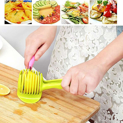 Incroyable Food Fruit Vegetable Slicer Tomato Clip Holder Onions Cutter Kitchen Gadget