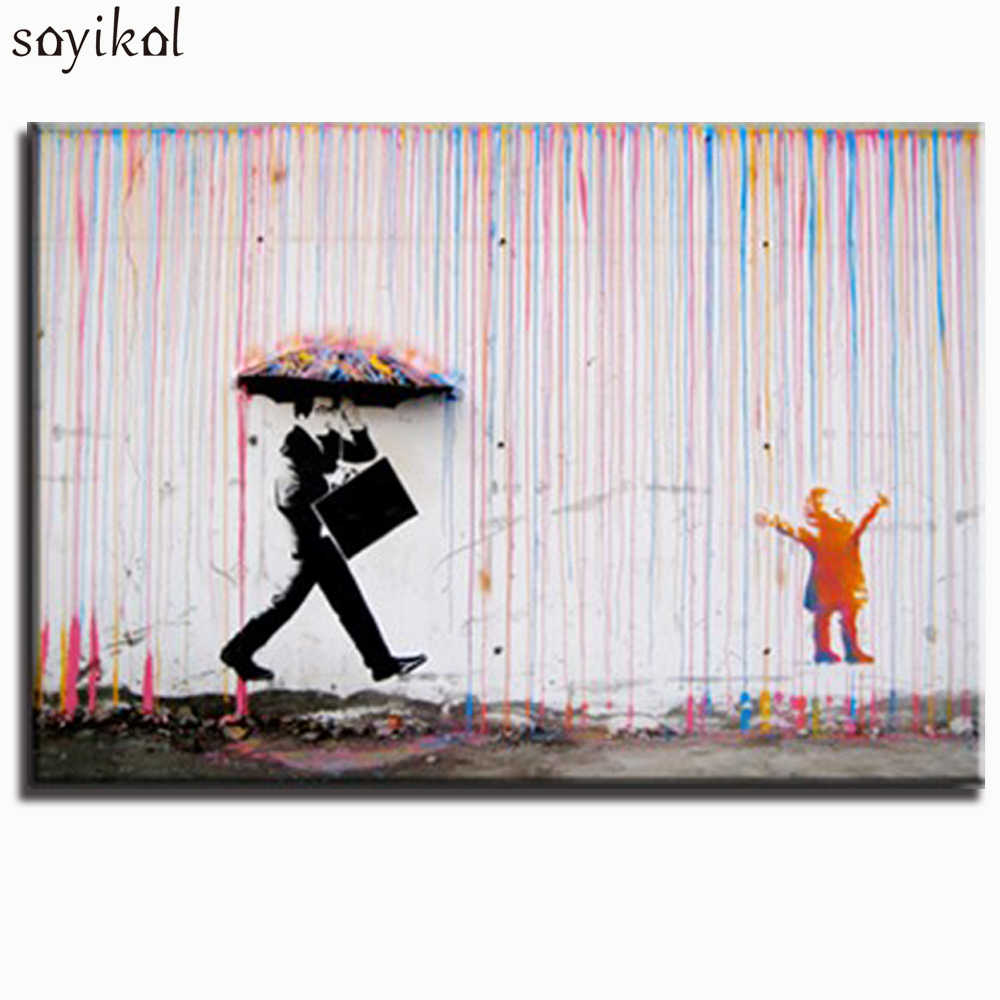 Canvas Print Paintings Banksy Graffiti Street Wall Art Large Poster Abstract Child And Father Canvas Art Picture Home Decor