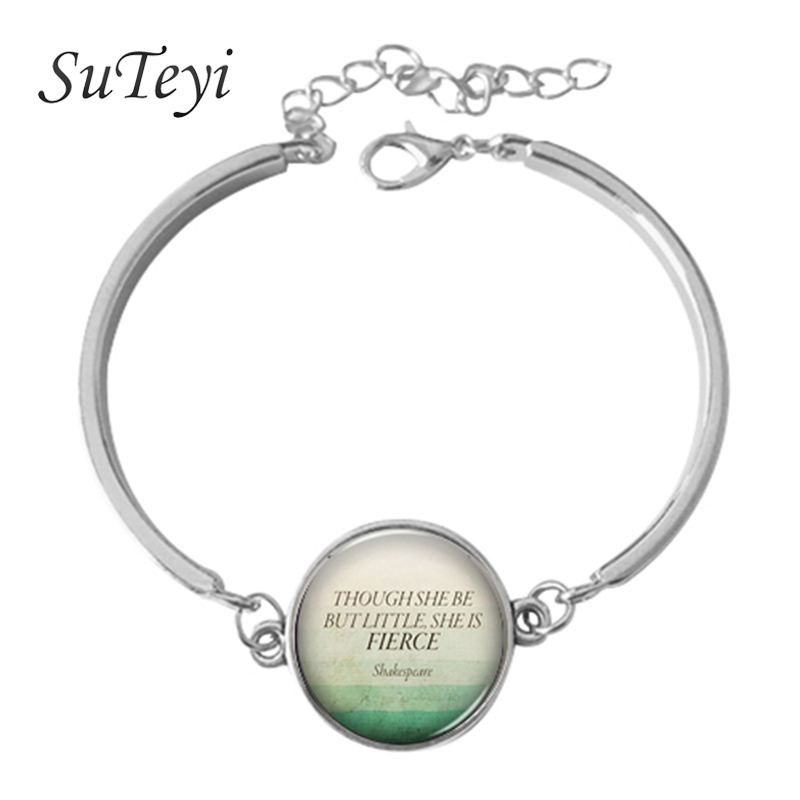 SUTEYI Letters Phrase Charm Bracelet Buddha Quotation Motivation Wisdom Inspired Jewelry Sky and Cloud Pate Dome Glass Bracelet