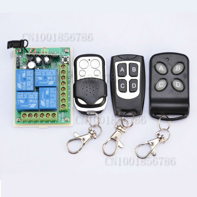 DC12V 4CH 4Relay  Wireless Remote Power Control Switch System  Receiver&3Transmitter 315/433MHZ Output is Ajustable 4pcs 12v 1a cctv system power dc switch power supply adapter for cctv system
