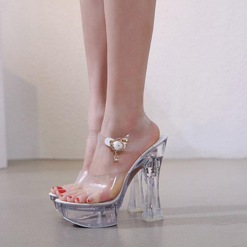 Steel Tube Dancing Female Shoes Crystal Transparent Shoes Women Summer High Heel 14.5CM Peep Toe Nightclub Sandals Wedding Shoes 3