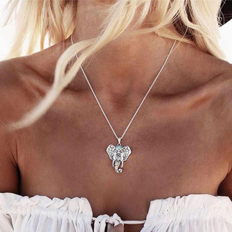 Heißer Vintage Elefanten Anhänger Halskette Boho Antike Blaue Stein Halsband Halskette Böhmen Bar Halskette 4ND112