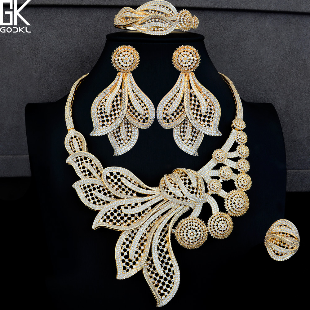 GODKI Luxury Dandelion Flower 4PCS African Jewelry Sets For Women Wedding Cubic Zircon Crystal CZ DUBAI