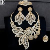 GODKI Luxury Dandelion Flower 4PCS African Jewelry Sets For Women Wedding Cubic Zircon Crystal CZ DUBAI Bridal Gold Jewelry Sets