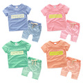 Children's letters set 2017 summer new boys and girls wear short sleeved pants two piece tz-2392