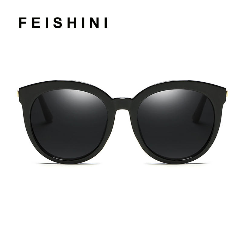 FEISHINI 2019 BLACK Frame Oval Polarized Sunglasses Women Fashion UV Protector HD Lens Driving korea Glasses Female Mirror PINK in Women 39 s Sunglasses from Apparel Accessories