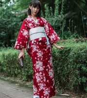 Traditional Japanese Floral Kimono with Obi Women's Cotton Bath Robe Yukata Female Vintage Cosplay Costume Evening Dress A60512
