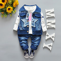 Дети три набора новая весна ковбой звезда девушки моде джинсовые трех частей костюм детская одежда набор