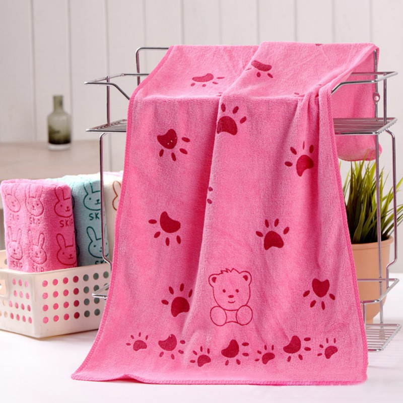 Cute Baby Towel Cartoon Animal Heart Print Bath Towel Absorbent Drying Swimwear Baby Cotton Kids Towels