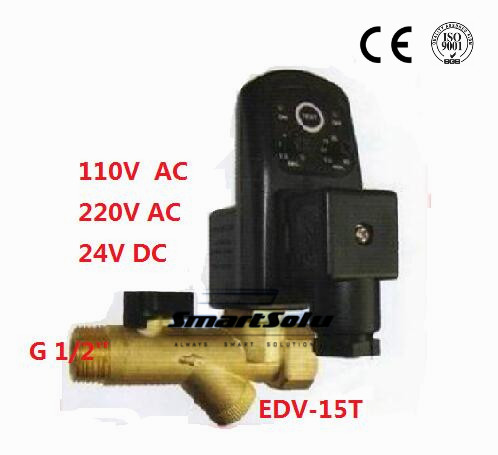 Free Shipping High Quality 1/2'' Compressor Auto Condensate Drain Digital Timer Valve Solenoid DC24V AC110V or AC220V EDV-15T free shipping 1 2 compressor auto condensate drain digital timer solenoid valve auto drainer air compressor electrial drain page 9