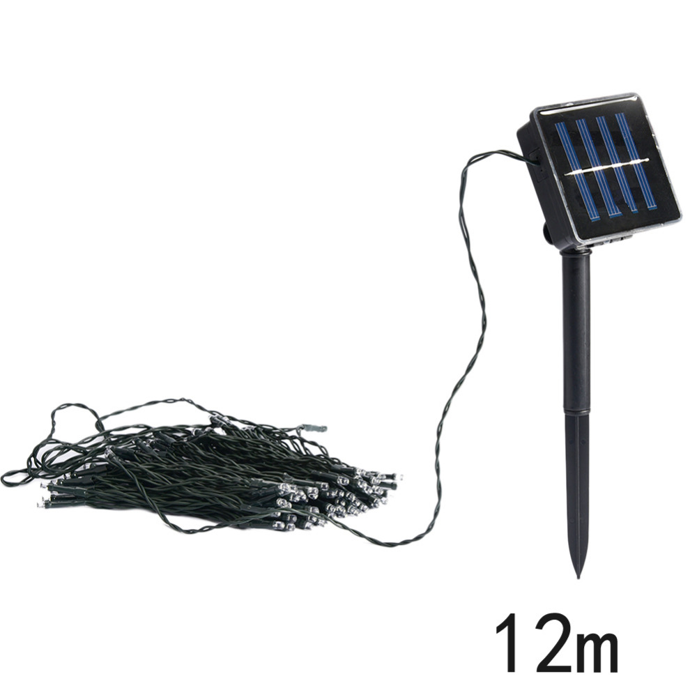 12M 100PCS LED Waterproof Solar Outdoor Powered Light String For Fairy Automatic Garden Christmas Holiday Party Decoration Lamp