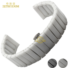 Pure Ceramic watchband watch band 22 24mm white black watch strap Butterfly Buckle wristband bracelet belt