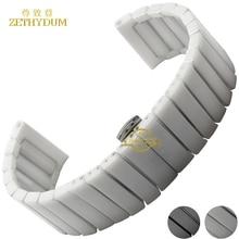 Чистый Керамический ремешок для часов группа смотреть 22 24 мм белый черный ремешок Бабочка Пряжка браслет браслет пояса часы аксессуары