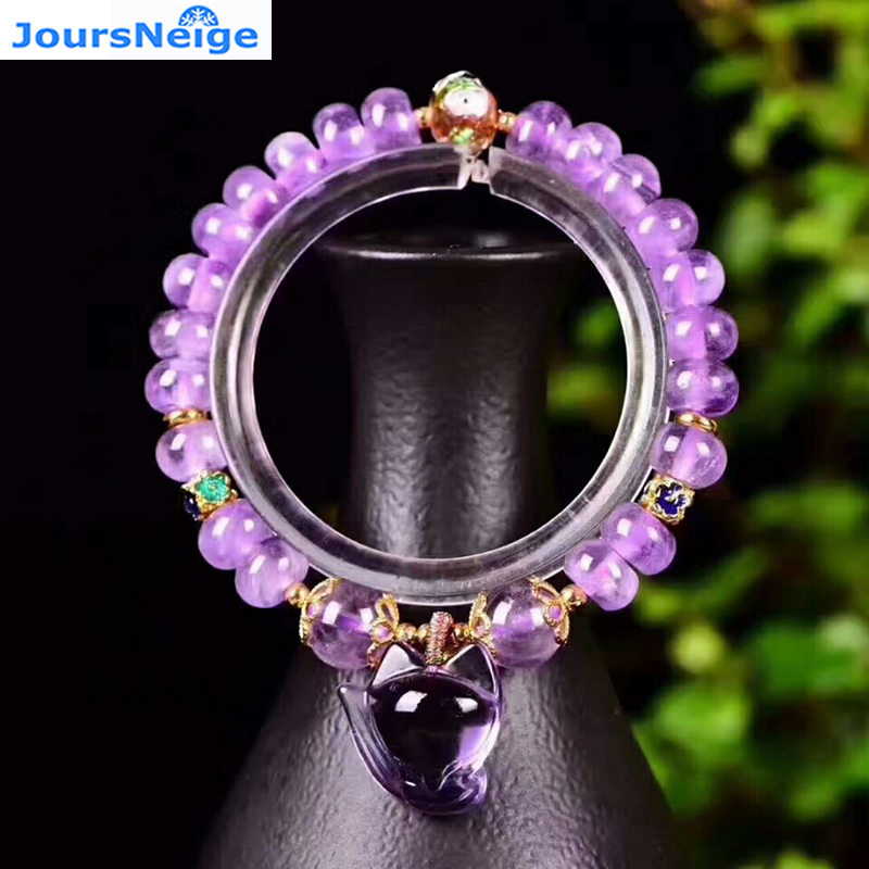 Fine Lavender Purple Natural Crystal Bracelets Fox Pendant Evil Spirits Help Marriage Lucky for Women Girl Gift Bracelet Jewelry