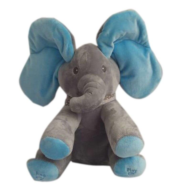 Peek A Boo Elephant Stuffed Animals & Plush Doll Music Elephant Educational Anti-stress Plush Electric Toy For Baby