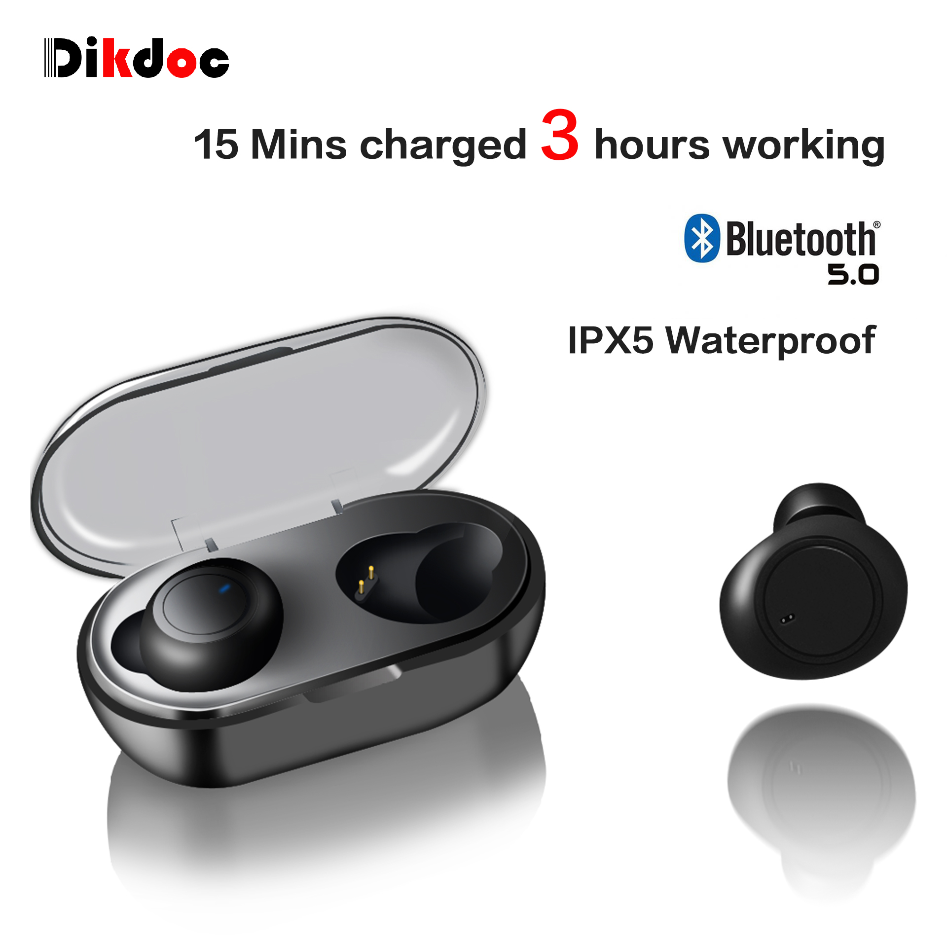 Dikdoc Wireless Earbuds Bluetooth Earphones TWS Waterproof In earphone Handfrees Noise Cancelltion BT 5.0 For Galaxy Sport Buds-in Bluetooth Earphones & Headphones from Consumer Electronics