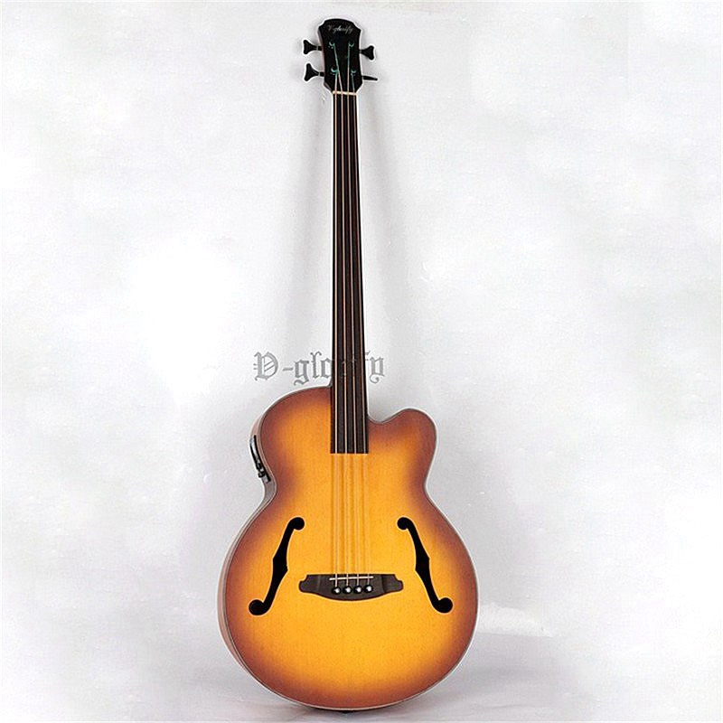 high quality 4 string fretless jazz acoustic-electric bass guitar free shippinghigh quality 4 string fretless jazz acoustic-electric bass guitar free shipping