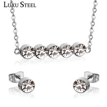 LUXUSTEEL Round AAA Crystal Stud Earrings Stainless Steel Steel Color Wedding Jewelry Sets For Women Choker Necklaces(China)