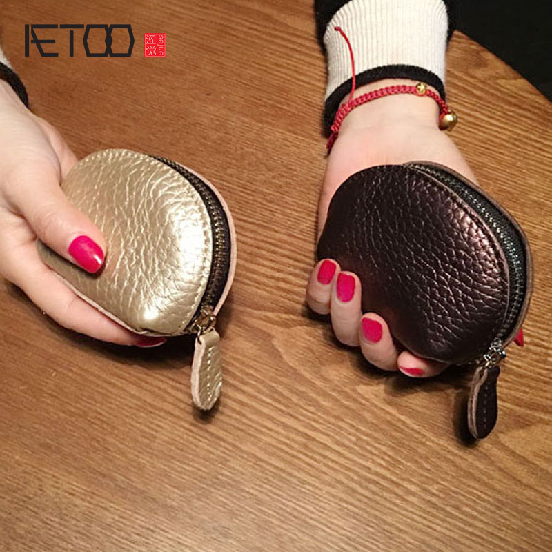 AETOO New simple retro mini mini leather wallet ladies leather dumplings zipper coins package tide leather look mini skirt with zipper details