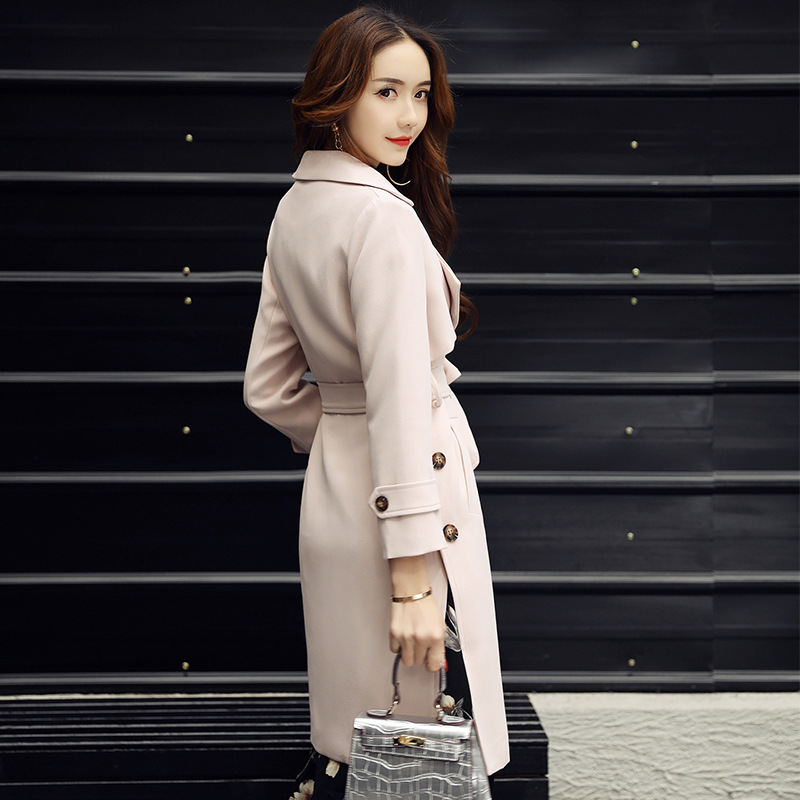 New 2017 Spring Autumn Brand Bur Women Double-breasted Windbreak Long Coat European Fashion solid color trench coat