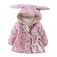 WYNNE GADIS Winter Baby Girls Floral Print Cute Rabbit Ear Hooded Bow Kids Jacket Coat Children