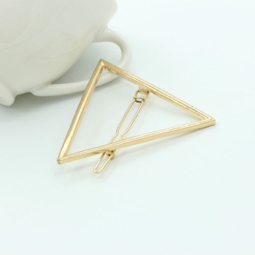 HTB1UWUrPpXXXXXeXVXXq6xXFXXXG Chic Gold/Silver Plated Metal Triangle Circle Moon Hair Clip For Women - 4 Styles