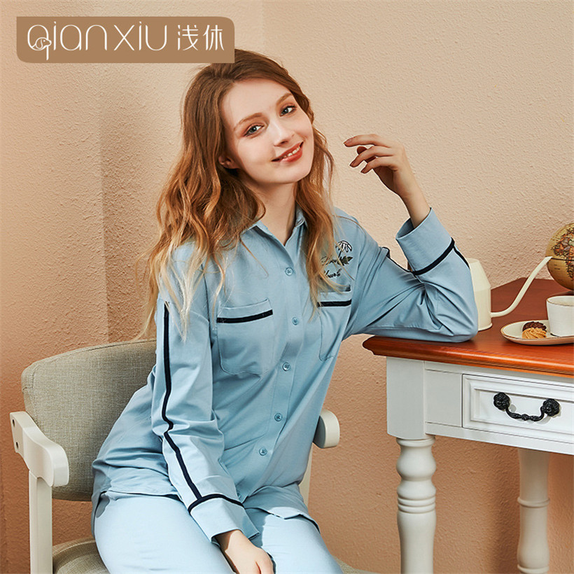 2019 women 2 Pieces cotton Pajamas Sets Woman sweet printing Sleepwear long sleeve Cardigan female Nightwear pyjamas women