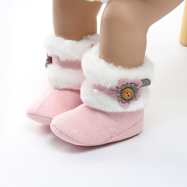 d6baaf864f5f Winter Newborn Baby Boots Soft Plush Ball Booties for Infant Girls Anti Slip  Snow Boot Keep Warm Crib shoes