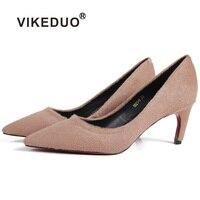 VIKEDUO/2019 г. Новые летние женские туфли лодочки на высоком каблуке из натуральной конского волоса цвета хаки; модные свадебные офисные женские