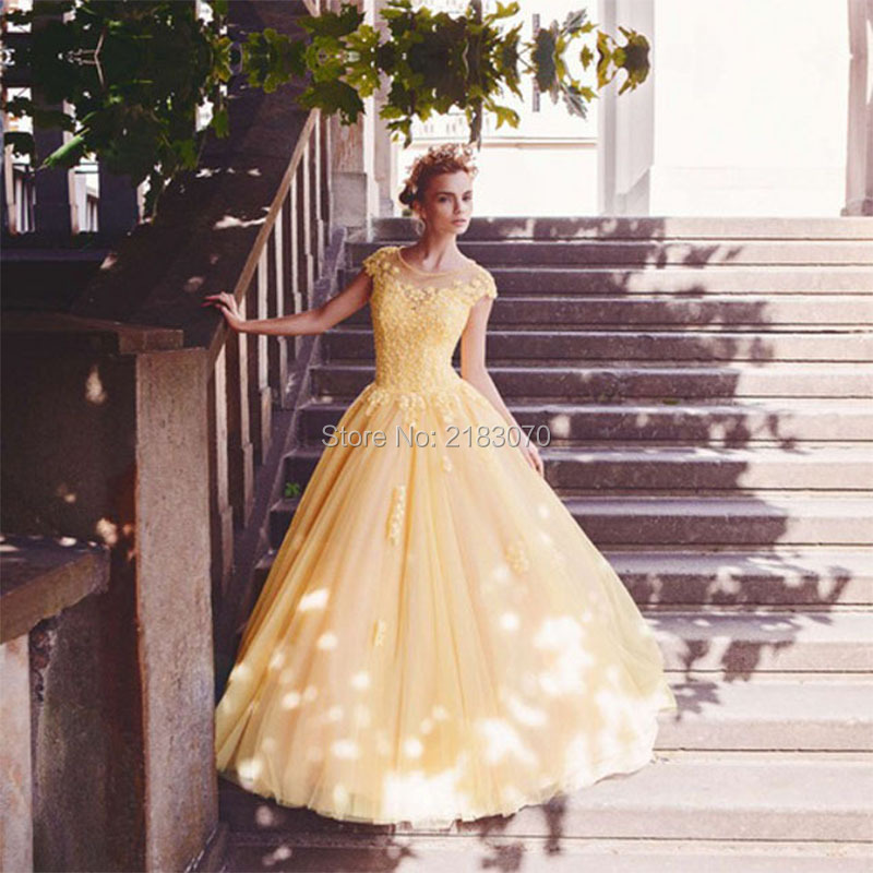 Popular wedding dresses yellow buy cheap wedding dresses for Aliexpress robes de mariage