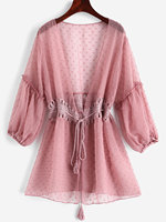 ZAFUL Tie Crochet Panel Dot Cover Up See Through Sheer Cover Up Long Sleeves Bikini Cover Up Plunging Neck Swimsuit long tunic