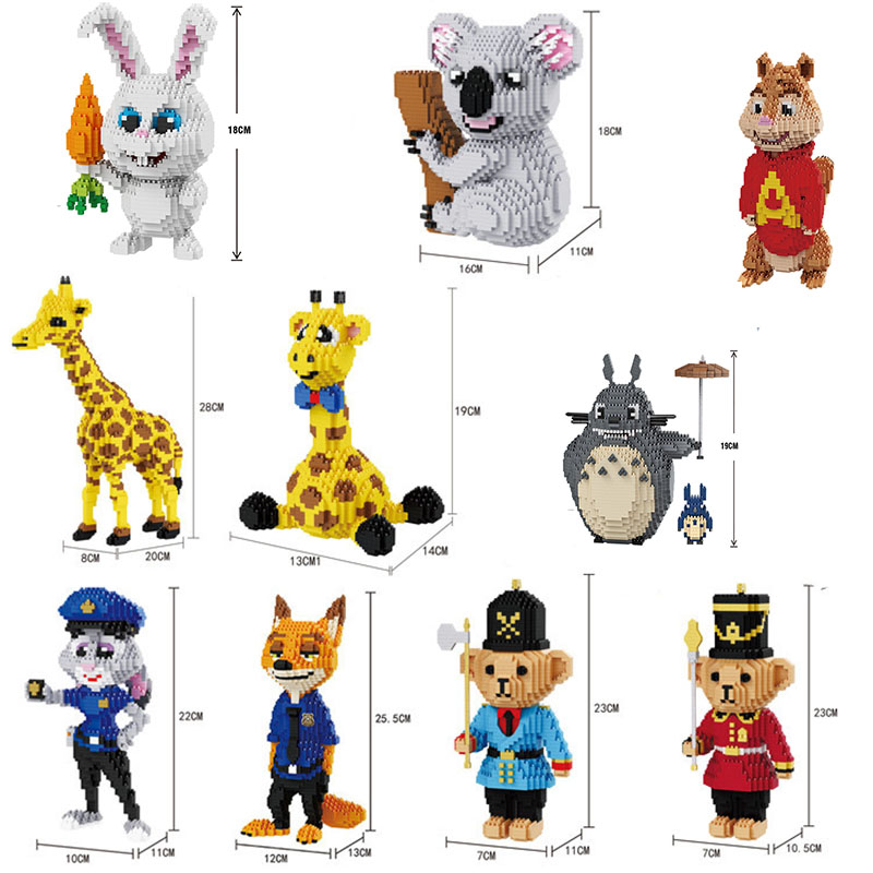 Mini Brick Balody Animal Block  DIY Cartoon Totoro  Chipmunk Rabbit Fox Koala Bear Giraffa  Building Toy For Children No Box