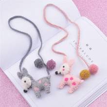 Korea Handmade Cute Cartoon Felt Deer Animal ball Kids Children Girl Necklace Apparel Accessories-HZPRCGNL043F