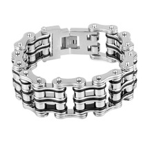 21mm Double Line Bicycle Link Chain Bracelet For Men Silver Black Color Motorcyle Chain Bracelets Bangle Fashion Party Jewelry
