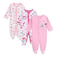 3 PCS 100 Cotton Baby Romper Long Sleeves Baby Pajamas Cartoon Printed Newborn Baby Girls Boys