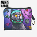 Espaço gato 3d impressão mulheres carteiras portefeuille femme 2016 bolsa da moeda da carteira billetera hombre billeteras mujer pará