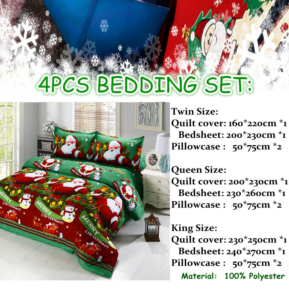 Great For Christmas, Set 4Pcs Christmas Santa Clause, 3D Bedding Set Duvet Cover Set,Sheet, Pillowcase, Sham Covers 34