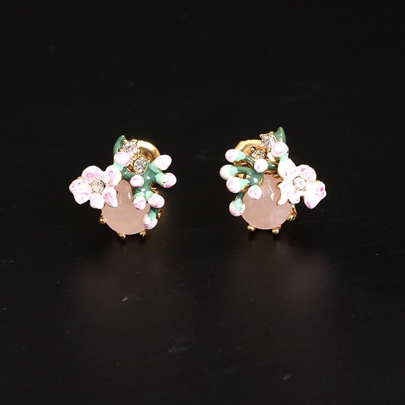 Dyxytwe Enamel Noble All-match Flower Gem Stud Earrings For Women Enamel Copper Gold Good Quality