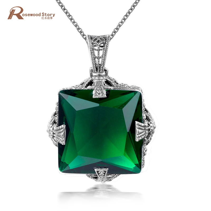 Wholesale Vintage Geometric Long Pendant Necklace Created Emerald Crystal Stone 925 Silver Pendants Women Retro AccessoriesWholesale Vintage Geometric Long Pendant Necklace Created Emerald Crystal Stone 925 Silver Pendants Women Retro Accessories
