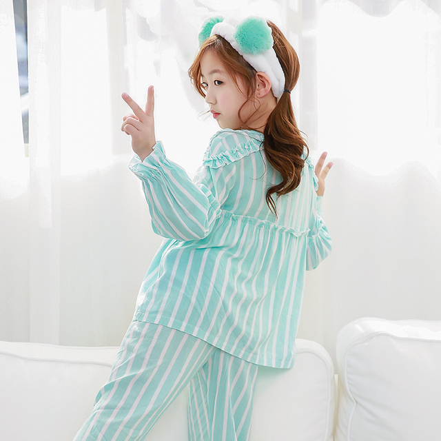 Pajama Set for Girls with Cute Striped Design