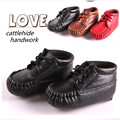 Pure cowhide baby steps/lace-up shoes leather shoes/indoor toddler boys and girls breathable soft bottom shoes/free shipping